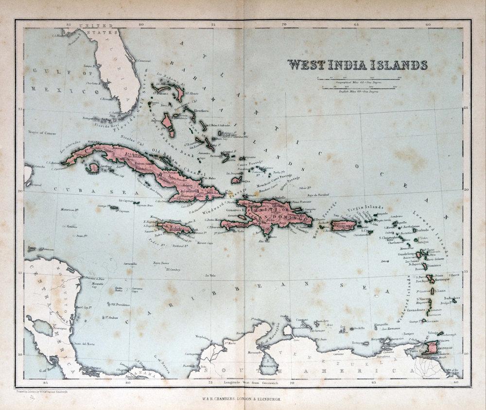 Historická mapa Karibiku.