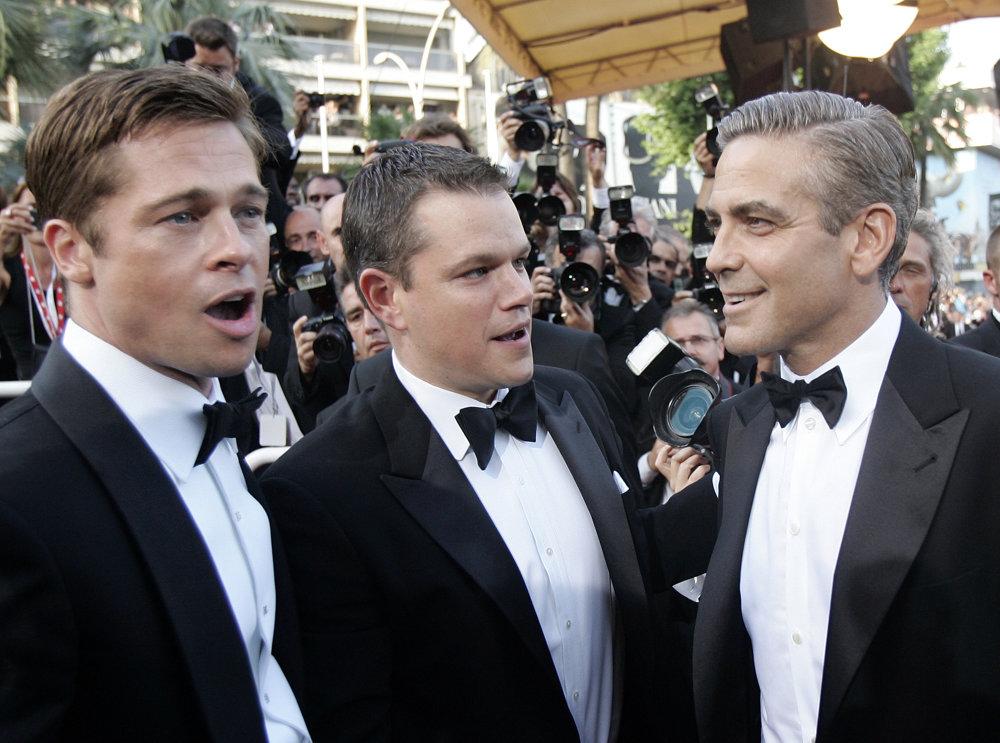 Brad Pitt, Matt Damon a George Clooney v Cannes v roku 2007.
