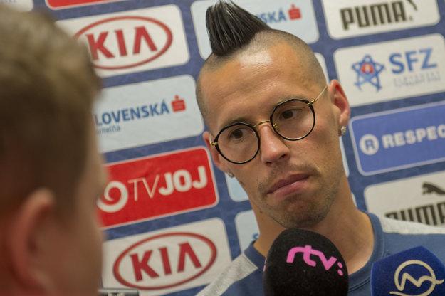 Marek Hamšík na zraze slovenskej futbalovej reprezentácie.