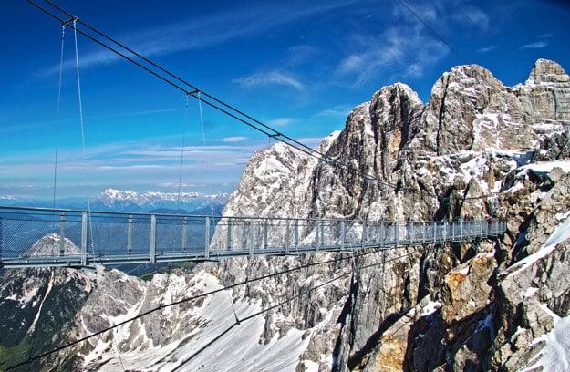 Najvyššie umiestnený visutý most v Rakúsku Haengebruecke Dreigestirn.