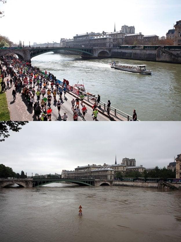 Na kombo snímke vidno porovnanie Seiny.