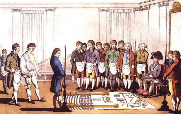 Slobodomurárske stretnutie v 18. storočí.