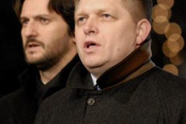 Robert Fico na oslavách v Martine s ministrom vnútra Kaliňákom.