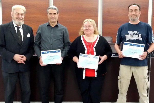 Najlepší informatici samospráv Slovenska - sprava Jaroslav Ježek (BSK), Mariana Hurná (Prešov), Miroslav Kruk (Ľubica), Marián Minarovič (Únia miest)