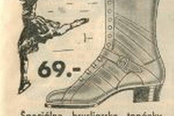 Dobová reklama na korčule z roku 1933.