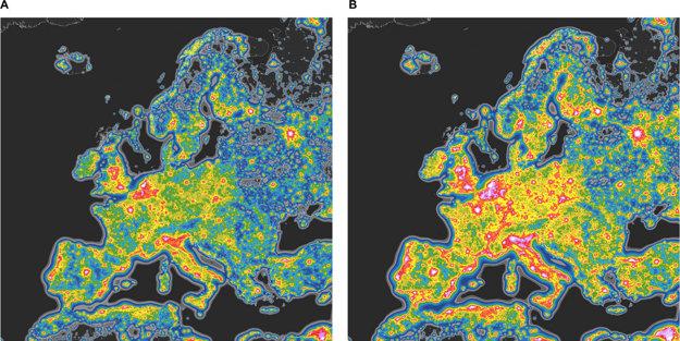 Súčasný stav svetelného znečistenia v Európe (naľavo) a stav, ktorý vedci očakávajú pri prechode na energeticky úsporné osvetlenie (napravo). Najčistejšia obloha je na čiernych a tmavomodrých miestach. Žlté, oranžové, červené až biele miesta zobrazujú oblasti s najväčším znečistením.