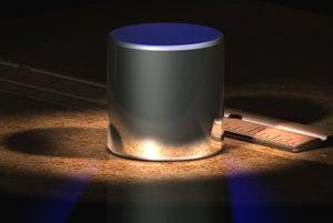 Počítačová vizualizácia Le Grand K - prototyp súčasného kilogramu.