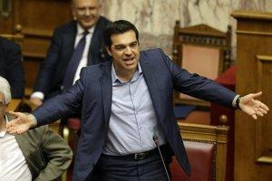 Premiér Tsipras v parlamente.