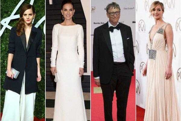 Zľava: Emma Watson, Natalie Portman, Bill Gates, Jennifer Lawrence