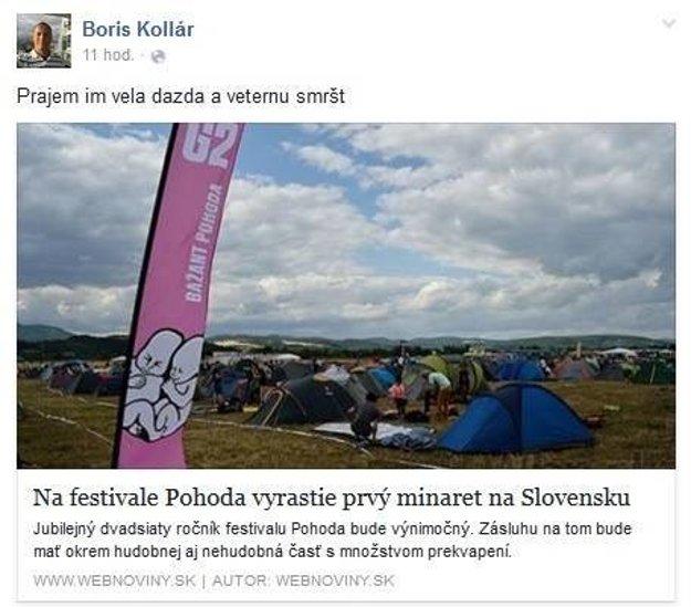 Vymazaný príspevok Borisa Kollára.