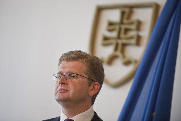 Minister životného prostredia Žiga na brífingu po ohlasovaní zákazu vývozu vody.