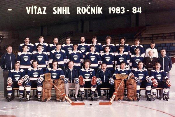 Mužstvo Plastiky Nitry, ktoré vsezóne 1983/84 vyhralo I. SNHL abojovalo opostup do federálnej ligy.