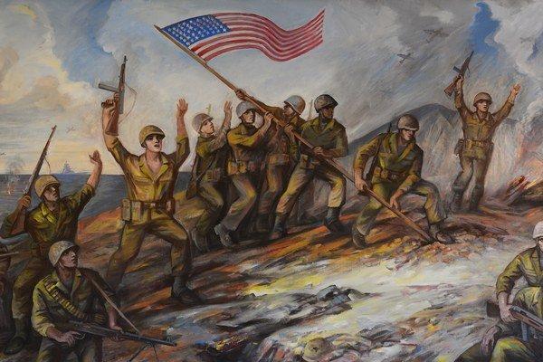 Olejomaľba Mikuláša Dica, rodáka z Jarabiny so scénou z Iwo Jimy.