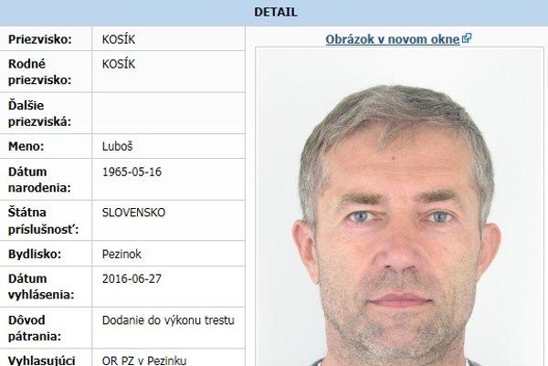 Polícia po Kosíkovi vyhlásila pátranie 27. júna 2016.