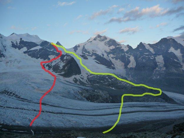 Červenou je približná trasa, ktorou sa chodí. Zelenou náš  variant, ktorý nás zdržal na tri hodiny. V takýchto výškach vyzerá všetko blízko, no v sktočnosti je to poriadne ďaleko. Opačne ako v Tatrách.