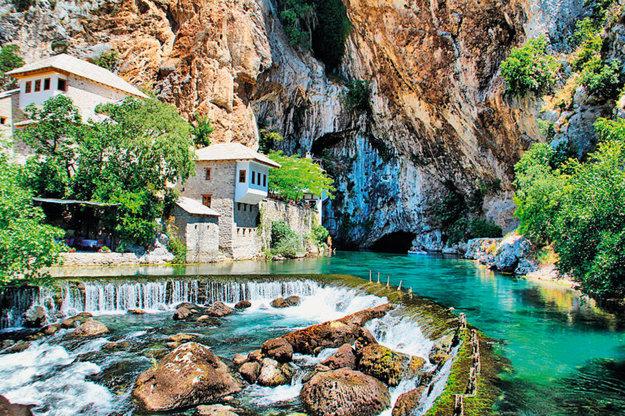 Blagaj a miestny kláštor Blagaj Tekka