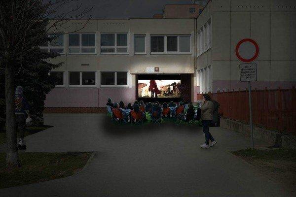 Vizualizácia letného kina. Ťahanovčania sa môžu tešiť na komiksové hity premietané pred vchodom školy.