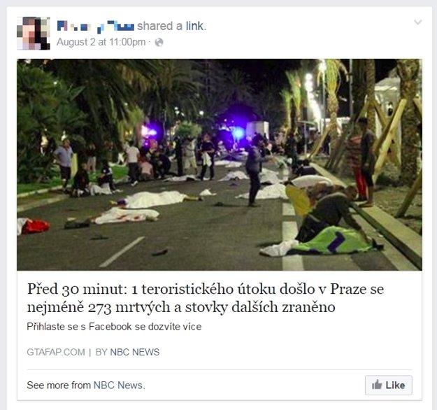 Falošný Facebookový príspevok.