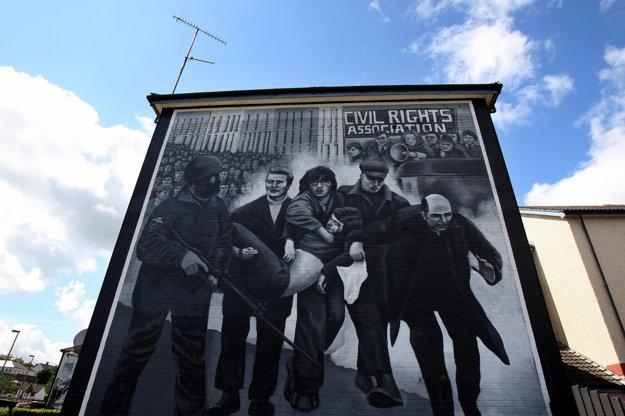 Nástenná maľba v Derry, ktorá zobrazuje Krvavú nedeľu.