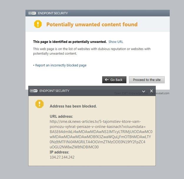 Upozornenie na nedôveryhodný web.