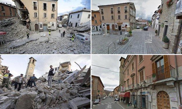 Amatrice pred a po zemetrasení.