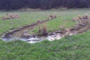 Fotografia zachytáva prúd vody smerujúci z ľavej strany do pravej.
