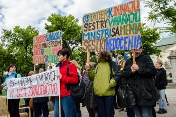 Protest zdravotníkov.