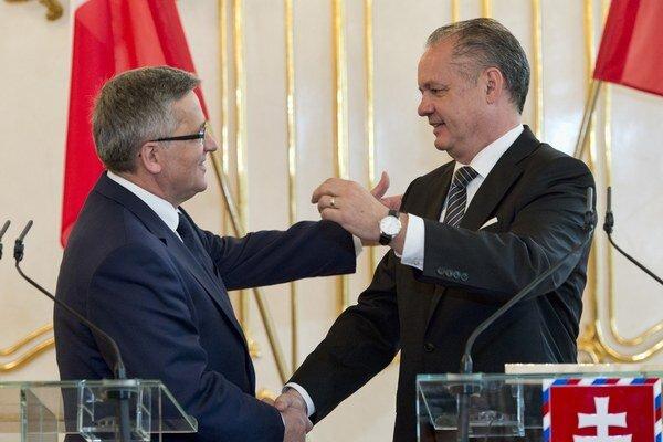 Prezident Andrej Kiska (vpravo) prijal prezidenta Poľskej republiky Bronislawa Komorowského.