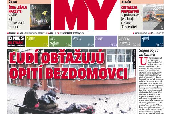 Titulka aktuálneho vydania MY Žilinských novín.