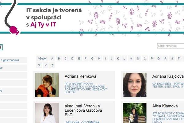 Internetový vyhľadávač odborníčiek www.zenyinak.sk.