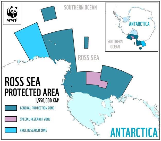 Chránené územia v Rossovom mori, kde sa nesmú loviť ryby a iné živočíchy na komerčné účely.