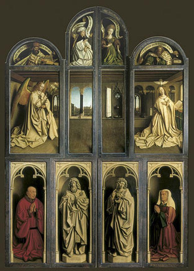 Oltár v zatvorenej podobe zobrazuje aj donátorov, ktorý si oltár objednali.