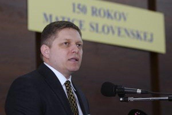 Premiér Robert Fico reční počas konferencie pri príležitosti 150. výročia založenia Matice slovenskej.