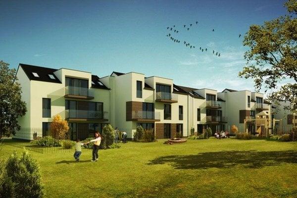 V obytnej zóne bude stáť šestnásť 4-izbových rodinných domov a radová zástavba s 3–izbovými bytmi.