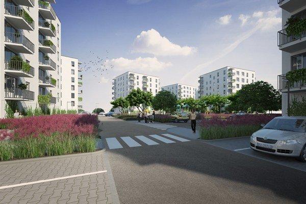 V šesťposchodových domoch budú jedno až štvorizbové byty. K vybavenosti budú patriť aj komunitné záhrady či profesionálny domovník.