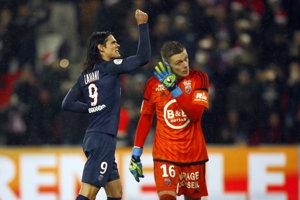 Edinson Cavani sa raduje po svojom góle.