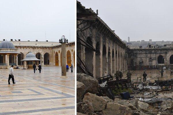 Veľká mešita v Aleppe pred a po vojne.
