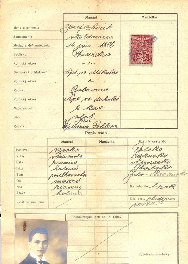 Takto vyzerala v roku 1939 žiadosť Jozefa Siváka o vydanie pasu.