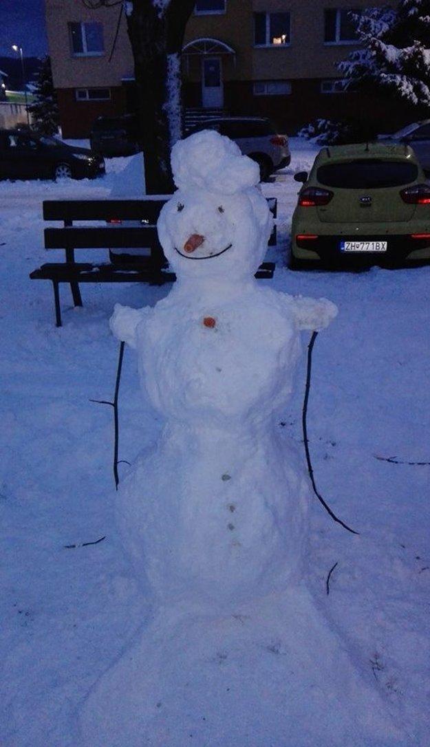 Snehuliak lyžiar.