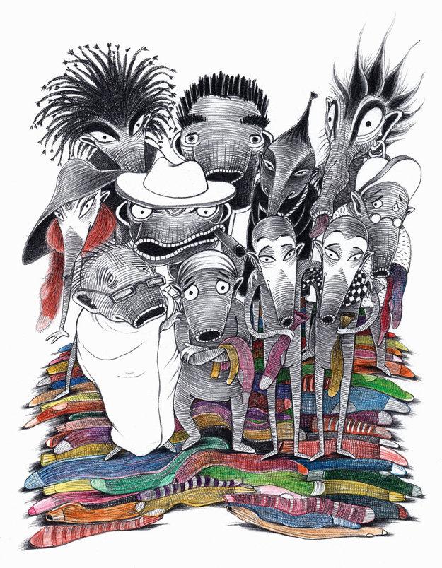 Ilustrácia Galiny Miklínovej z knižky Párožrúti. Autorom jej slovenského prekladu je Ján Litvák.