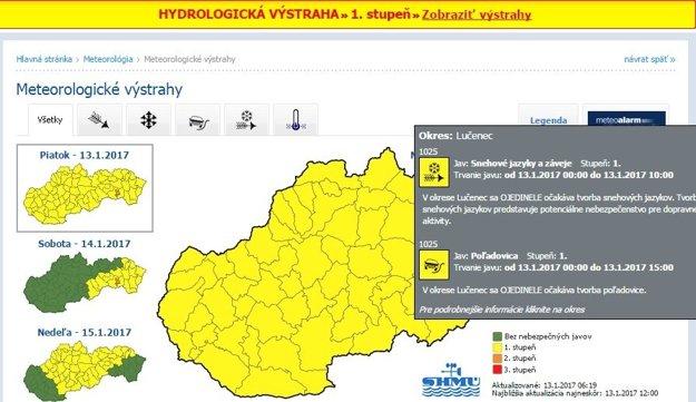Rôzne výstrahy platia pre celé Slovensko.