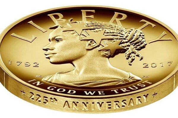 Pamätná minca, ktorá zobrazuje Slobodu ako černošku.