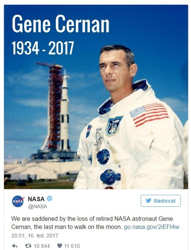 Správu o úmrtí astronauta s kysuckým pôvodom oznámila NASA na Twitteri.