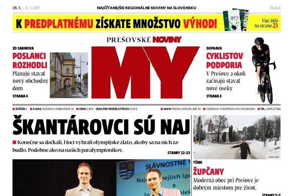 Titulná strana týždenníka Prešovské noviny č. 3/2017