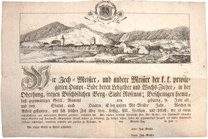 Listina zachytávajúca historickú podobu Rožňavy. Veduta Rožňavy od Johanna Baumertha na majsterskej listine cechu medovnikárov avoskolejárov, začiatok 19. storočia.