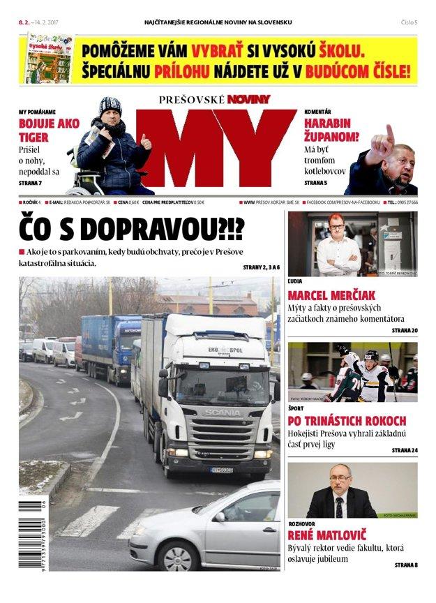 Titulná strana týždenníka Prešovské noviny č. 5/2017.