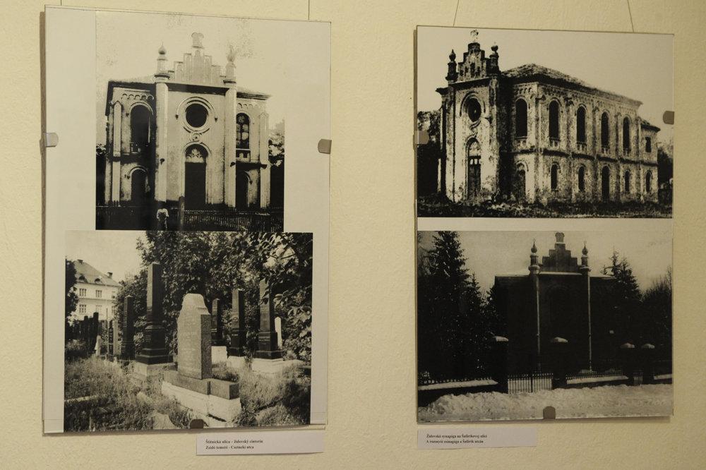 Bývalé židovské pamiatky mesta, vľavo je židovský cintorín na Štítnickej ulici a vpravo je synagóga na Šafárikovej ulici.