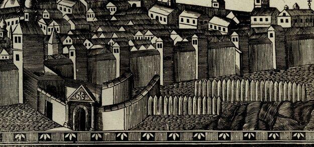 Takto sa Dolná brána zachovala na vedute z konca 18. storočia