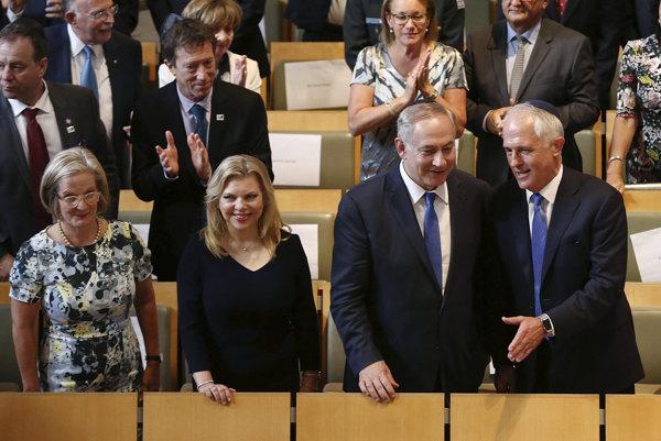 Malcolm Turnbull a Benjamin Netanjahu počas spoločného stretnutia.