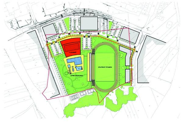 Červenou líniou je vyznačená hranica ponúknutého pozemku.